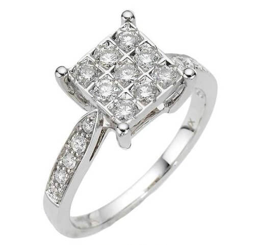 Prong set cluster ring with pave diamond band