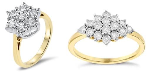 Flower and starburst cluster diamond rings