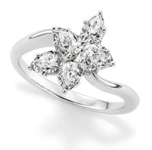 Pear diamonds in cluster ring setting