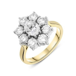 Oval center stone with small round diamond cluster ring