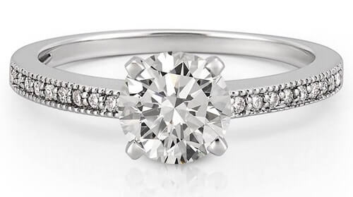 Milgrain setting diamond ring