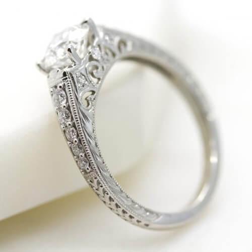 Milgrain and filigree diamond ring
