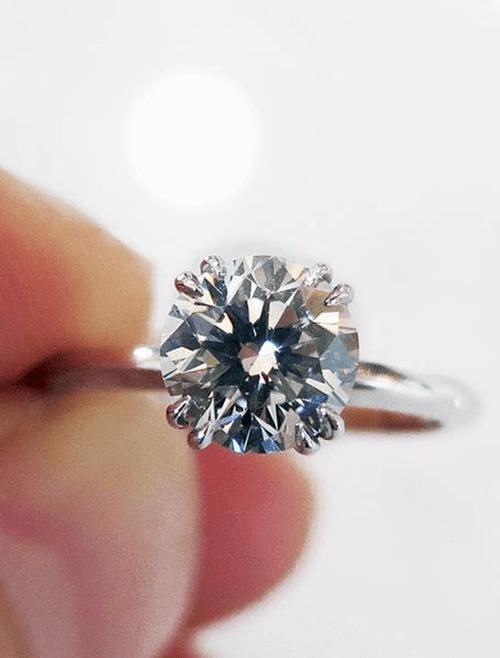 Gray diamond solitaire ring