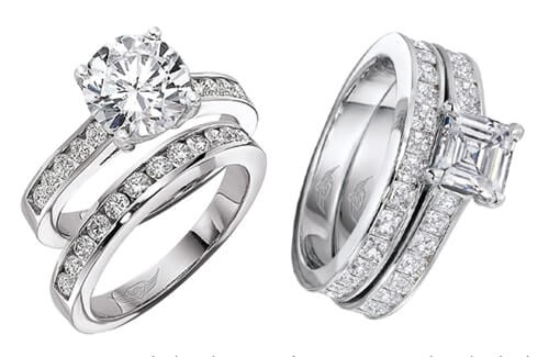 Channel Set Diamond Engagement Rings with matching bands